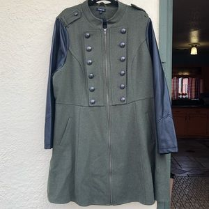 Torrid Long Military Style Olive and Black Coat